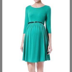 Emerald green maternity dress